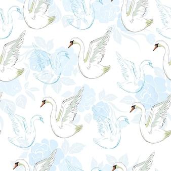 Naadloos patroon met witte zwanen