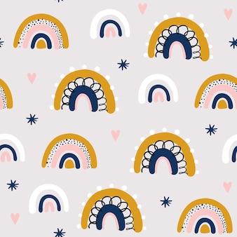 Naadloos patroon met wolk en regenboog in de lucht