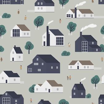 Naadloos patroon met woonhuizen of dorpshuisjes in scandinavische stijl en wandelende mensen. achtergrond met woningen in de voorsteden. platte kleurrijke vectorillustratie voor inpakpapier, textiel print.