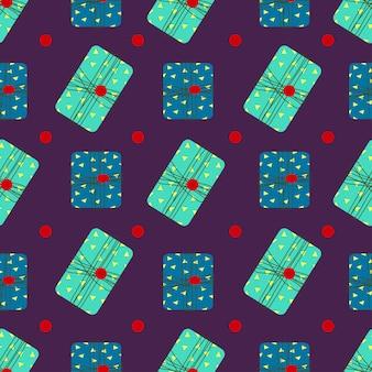 Naadloos patroon met zachtgroene en blauwe geschenkdozen leuke vakantieprint