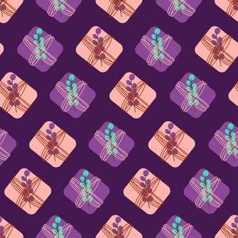 Naadloos patroon met zachtroze en violette geschenkdozen met planten leuke vakantieprint