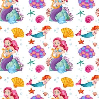 Naadloos patroon met zeemeermin en onderzeese elementen