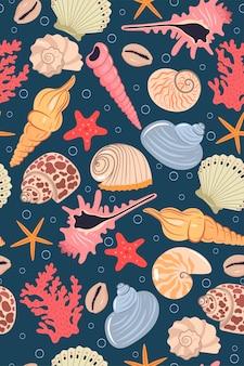 Naadloos patroon met zeeschelpen.