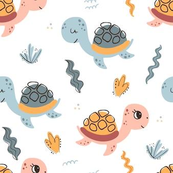 Naadloos patroon met zeeschildpadden en zeewier