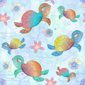 Naadloos patroon met zeeschildpadden.