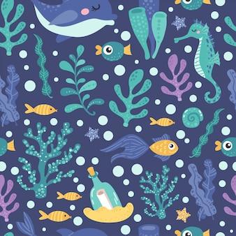 Naadloos patroon met zeewier en vis