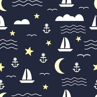 Naadloos patroon met zeilboot en anker op overzees