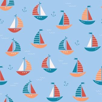 Naadloos patroon met zeilboten, ankers en golven nautisch vectorpatroon patroon voor kinderen