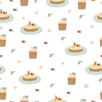 Naadloos patroon met zoete cakes