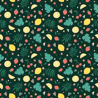 Naadloos patroon met zomerfruit, bloemen en tropische bladeren