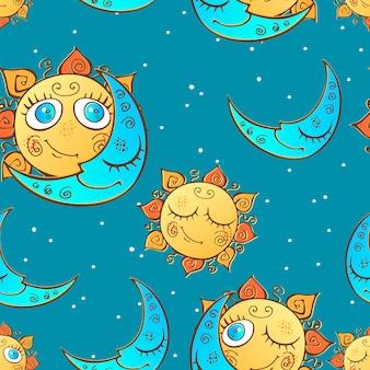 Naadloos patroon met zon en maan voor kinderen.