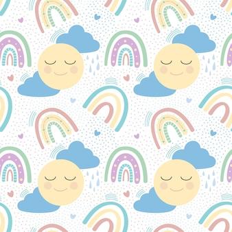 Naadloos patroon met zon, wolken en regenboog. vector illustratie