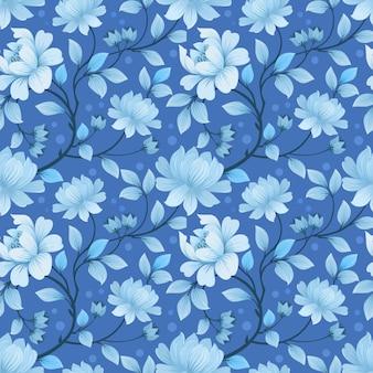 Naadloos patroon met zwart-wit blauwe bloemen en bladeren