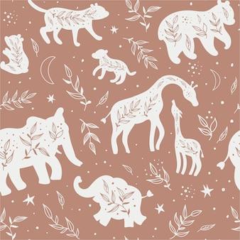 Naadloos patroon met zwart-witte silhouetten van wilde dieren en hun welpen.