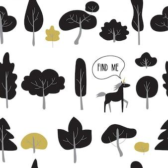Naadloos patroon met zwarte bomen en planten.