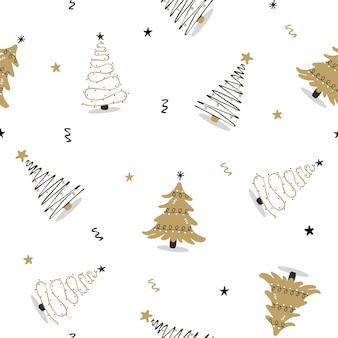 Naadloos patroon met zwarte en gouden kerstboom.
