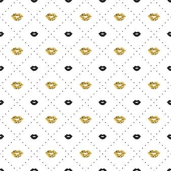 Naadloos patroon met zwarte en gouden lippenkusvormen.