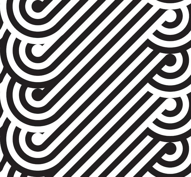 Naadloos patroon met zwarte en witte lijnen en cirkels