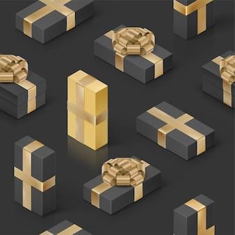 Naadloos patroon met zwarte geschenkdozen en gouden lint. black friday-behang