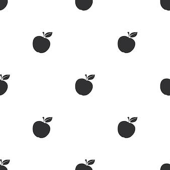 Naadloos patroon met zwarte silhouetten van appels op een witte achtergrond vectorillustratie