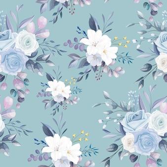 Naadloos patroon mooi bloem en bladerenontwerp Premium Vector