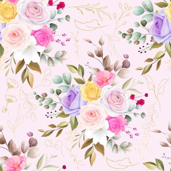 Naadloos patroon mooi bloem en bladerenontwerp