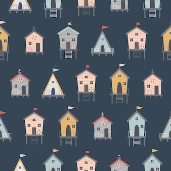 Naadloos patroon op een donkere achtergrond kleurrijke schattige strandhuisjes