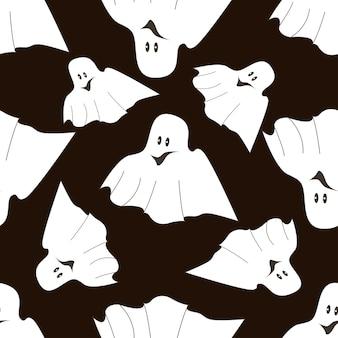 Naadloos patroon op een donkere achtergrond op de vakantie - halloween. pompoenen, een geest, een vleermuis. vector illustratie.