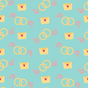Naadloos patroon op een liefdesthema. op een blauwe achtergrond, een liefdesbericht met een hart, abstracte bloemblaadjes en trouwringen. ontwerp voor inpakpapier, stof, kaarten en uitnodigingen. vector illustratie.