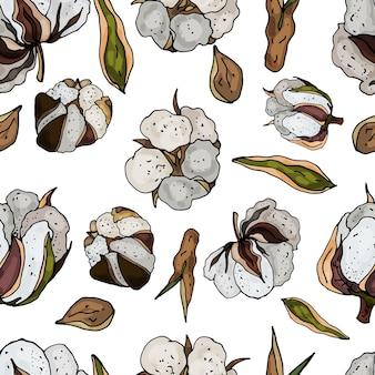 Naadloos patroon op een witte achtergrond van bloeiend katoen delicate abstracte bloemenprint