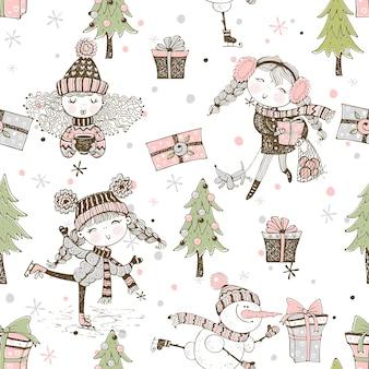 Naadloos patroon op het thema van de kerstmiswinter met leuke meisjes in krabbelstijl.
