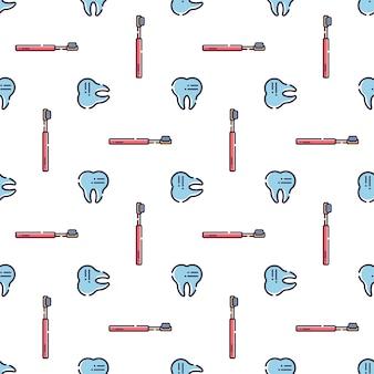 Naadloos patroon op tandthema