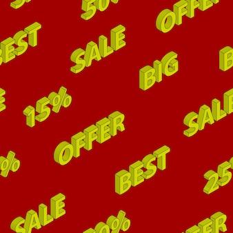 Naadloos patroon op verkoop en kortingen met isometrische inscripties, geel op rode achtergrond