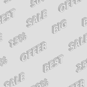 Naadloos patroon op verkoop en kortingen met isometrische inscripties, in grijze kleuren