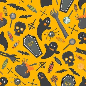 Naadloos patroon. patroon met grappige halloween-personages en elementen. perfect voor afdrukken, flyers, banners, uitnodigingen, scrapbooking, gefeliciteerd en meer. vector halloween-illustratie.