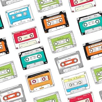 Naadloos patroon, plastic cassette, audioband met verschillende muziek