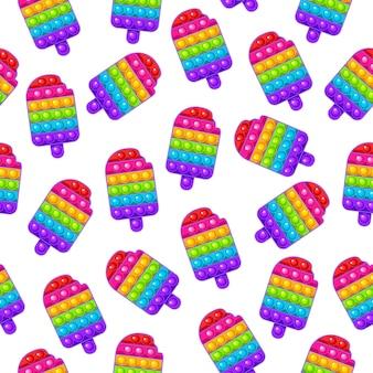 Naadloos patroon popsicle speelgoed kleurrijk zintuiglijk antistress speelgoed voor fidget pop it