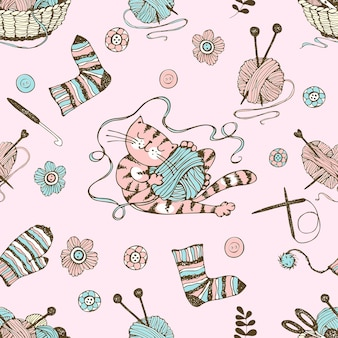 Naadloos patroon rond het thema breien met een mand en bollen garen en een schattige kat. vector.