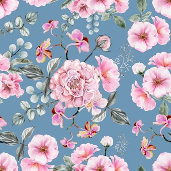 Naadloos patroon rose bloemenwijnoogst.