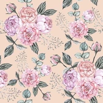 Naadloos patroon roze bloemenwijnoogst.