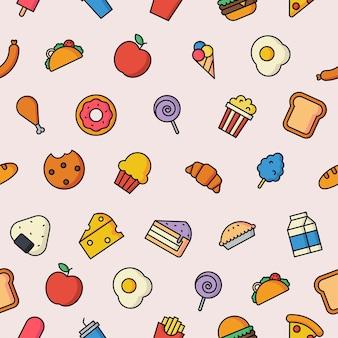 Naadloos patroon schattig grappig fastfood