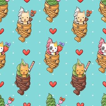 Naadloos patroon schattige kat en taiyaki-ijs1