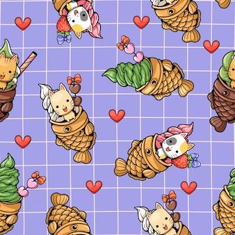 Naadloos patroon schattige kat en taiyaki-ijs