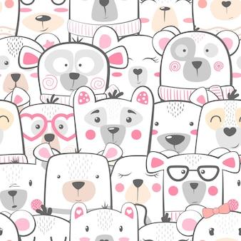 Naadloos patroon - schattige set beer