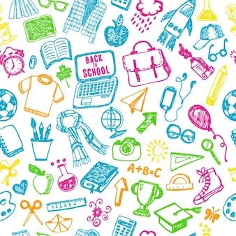 Naadloos patroon school terug naar school illustratie schets set