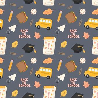 Naadloos patroon terug naar school met trainingstoebehoren van school Premium Vector