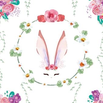 Naadloos patroon uitstekend konijntje in bloemen.