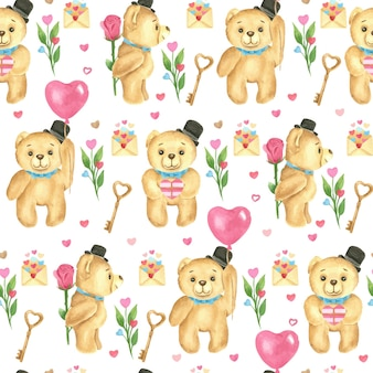 Naadloos patroon. valentijnsdag aquarel. teddyberen, hartvormige ballonnen, rozen en letters