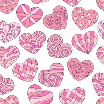 Naadloos patroon van abstracte handgetekende roze harten voor valentijnsdag