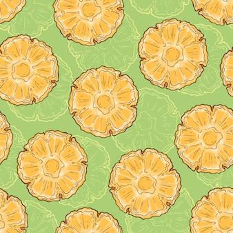 Naadloos patroon van ananas in schetsstijl.